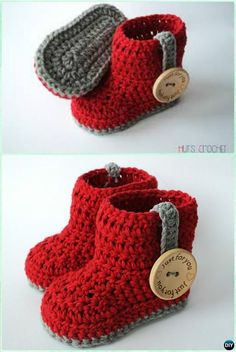 DIY Crochet Valentine HUT'S AMORE Baby Booties Free Pattern - Crochet Ankle High Baby Booties Free Patterns