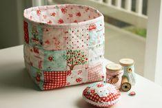 Fabric basket made by nanaCompany, using The Simple Life fabric by Tasha Horsley