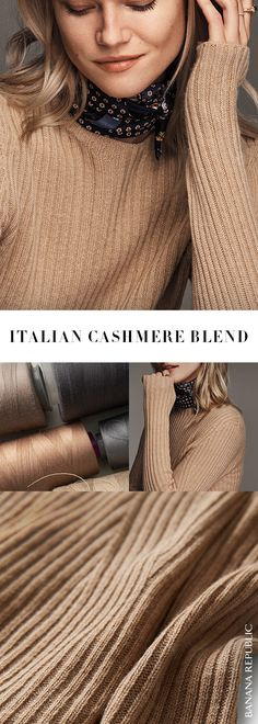 Supersoft with a lofty feel, this cashmere blend features Italian yarns courtesy of the renowned Filpucci Mill. It's luxe enough to dress up, but still looks great with your favorite pair of jeans. You'll love these fine twists. | Banana Republic