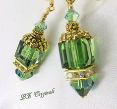 Green Irish and Gold Flower Swarovski Cube Earrings by BZOriginals