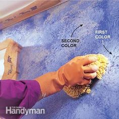 to Sponge Paint a Wall Sponge paint the second color on the wall.Sponge paint the second color on the wall. Sponge Painting Walls, Painting Textured Walls, Diy Wall Painting, Faux Painting, Diy Wall Art, House Painting, Painting Steps, Room Colors, Wall Colors