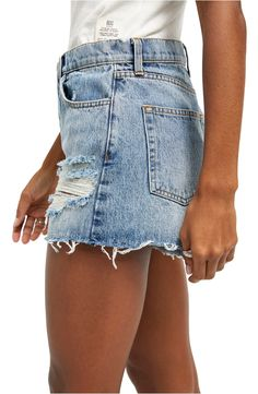 BDG Urban Outfitters Pax Ripped High Waist Denim Shorts | Nordstrom Mom Jeans Shorts, Denim Cutoffs, Jean Shorts, Outfits For Teens, High Waist, Urban Outfitters, Nordstrom, Casual Summer, Clothes