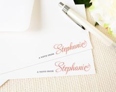 Personalized Notecard Set - Simple Sideline Script First Name - Set of 12 Flat Personalized Stationery Cards - Professional Simple Notes
