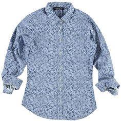 Camicia Jpggy in fantasia a fiori bianco e blu, 100% cotone con particolare bottone a forma di fiore - € 34,90   Nico.it