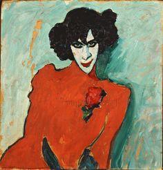 Portret van de danser Aleksandr Sacharov ~ 1909 ~ Olieverf op karton ~ 66,5 x 69,5 cm. ~ Städtische Galerie im Lenbachhaus, München