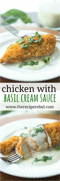 Light Chicken with Basil Cream Sauce is a healthy, easy weeknight meal ...