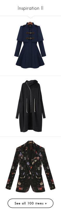 """Inspiration II"" by kurohime ❤ liked on Polyvore featuring outerwear, coats, jackets, coats & jackets, navy, high neck coat, cloak coat, long sleeve coat, navy coat and long navy coat"