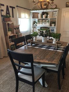 Farmhouse table refinished White Farmhouse Table, Farmhouse Dining Rooms, Farmhouse Interior, Farmhouse Decor, Farmhouse Paint Colors, Farmhouse Design, Farmhouse Style Kitchen, Country Decor, French Country Dining Table