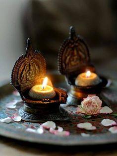 Iron votives, softened by candlelight~❥