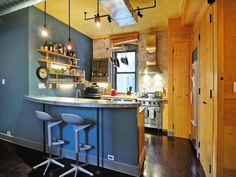 See pictures of Topher Grace's West Village apartment. This Hollywood hunk has a gorgeous two-bedroom downtown apartment. For more celebrity home tours go to Domino. Home Bar Rooms, Home Bar Areas, Home Living Room, Celebrity Kitchens, Celebrity Houses, Interior Design Kitchen, Interior Decorating, Decorating Ideas, Zinc Countertops