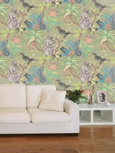 Buy Savuti in Khaki Multi, a feature wallpaper from Cole and Son, featured in the Ardmore collection from Fashion Wallpaper. Feature Wallpaper, Fashion Wallpaper, Cole And Son, Wall Murals, Sons, Living Room, Laundry Room, Wallpapers, Home Decor