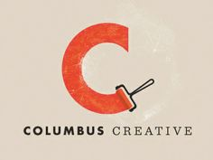 "Columbus Creative | Designer: Chase Turberville. There's something very calming and soothing about watching paint strokes or someone doing calligraphy. Watching the smooth movements are aesthetically pleasing, and the paint roller in this logo gives implied motion for the smooth,clean stroke of the ""C."""