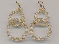 Hegyikristály fülbevaló arany foglalatban