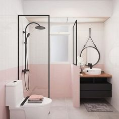 illenial Pink for the trend-setter or Mary Poppins Pink for the romantic? - illenial Pink for the trend-setter or Mary Poppins Pink for the romantic? Today, we'll go for the - Minimal Bathroom, Modern Bathroom, Master Bathroom, Boho Bathroom, Girl Bathrooms, Bathroom Pink, Bathroom Design Small, Bathroom Interior Design, Interior Livingroom