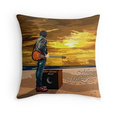 Music is My Life Throw Pillows #Pillow #PillowCase #PillowCover #CostumPillow #Cushion #CushionCase #PersonalizedPillow #music #guitarist #guitar #amplifier #mylife #band #rocker