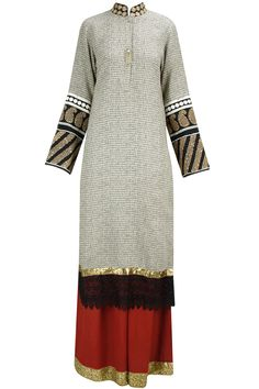 Off white shlok print embroidered long straight kurta with red pants available only at Pernia's Pop-Up Shop.