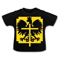 Polska Crucifix Baby Shirt Schwarz [Gelb/Samtig] - Baby T-Shirt