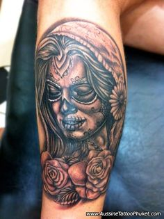 sugar skulls and roses and rosary tattoo designs | font styles word tattoos for men angel tattoo designs tatoo designs ...