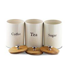 Metal Jar - Canisters Set Coffee, Tea, Sugar Tin Set of 3 with Bamboo Lids - By Svebake