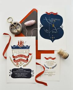 Beautiful illustrated invitations / Design Quill & Fox / #wedinvite
