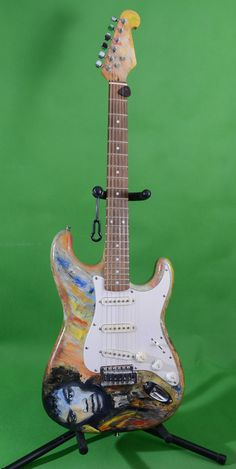 Jimi Hendrix tribute hand painted Guitar