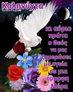 Good Morning Cards, Beautiful Pink Roses, Night Pictures, Good Night Quotes, Greek Quotes, Thalia, Messages, True Words, Instagram Posts
