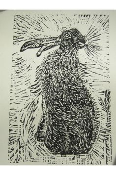 """""""Hare"""" linocut by Yvonne Carroll - just purchased this and it's beautiful"""