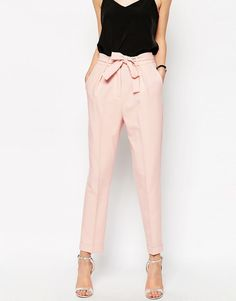 ASOS women's pink pegged trousers with tie at waist. Women's business casual pants for work.
