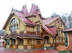 Russie, isba, maison traditionnelle russe St Petersbourg, Russie