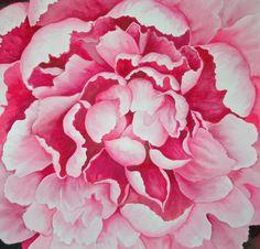 Pink Peony Mandala, 22x24, watercolor, ©2010 Helen Klebesadel, $2000