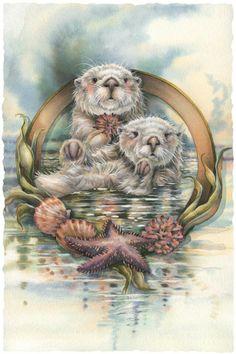 Jody Bergsma Originals | Otters at play | Jody Bergsma Art