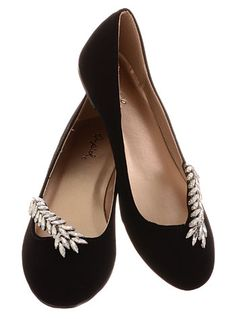 She Sparkles at Midnight Black Ballet Flats by Qupid Shoes, Shoes, Black
