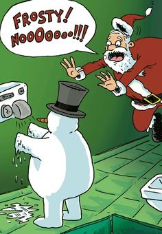 Frosty at the hand dryer.  Frosty Nooooo! Holiday Cards from #Walmart