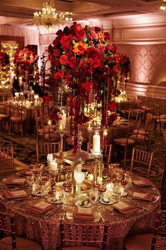 red rose centerpieces with cascading crystals, pillar candles, gold linens and gold chairs Red Wedding Decorations, Quince Decorations, Quinceanera Decorations, Red Wedding Receptions, Quince Themes, Quince Ideas, Wedding Cake Red, Red Rose Wedding, Lace Wedding