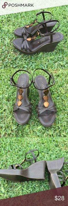 Italian Shoemakers wedge sandal brown with bronze deco.  TTS. 4 in wedge Shoes Sandals