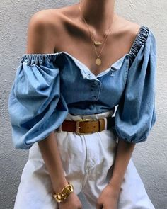 Off Shoulder Lantern Sleeve Denim Blouse - Summer fashionCute summer outfits - Trend Fashion, Denim Fashion, Look Fashion, Fashion Outfits, Womens Fashion, Fashion Ideas, Fashion Quiz, Trousers Fashion, 70s Fashion