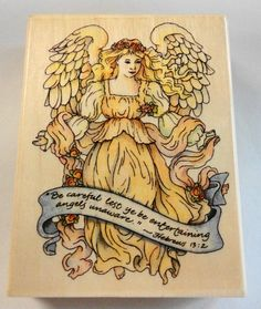 Religious Angel Stamp Hebrews 13:2 by Uptown Be careful lest ye be entertaining angels unaware K30018 Among Friends Collection