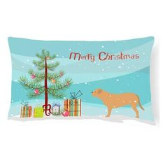 Carolines Treasures Dogue De Bordeaux Merry Christmas Tree Rectangle Decorative Outdoor Pillow - BB2988PW1216