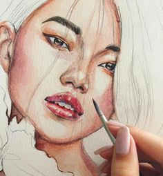 蕾拉 / l A Y L A - simplepainting. Watercolor Artwork, Watercolor Portraits, Watercolour, Art Sketches, Art Drawings, Art Et Illustration, Wow Art, Portrait Art, Art Inspo