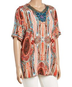 Another great find on #zulily! Coral & Brown Abstract Geo Embellished Neck Top - Plus #zulilyfinds