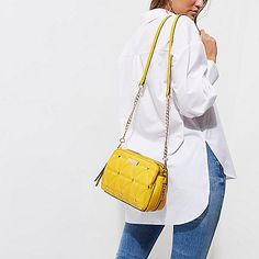 Yellow studded cross body quilted bag - cross body bags - bags / purses - women
