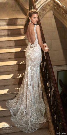 galia lahav fall 2017 bridal sleeveless strap deep plunging v neck full embroidered elegant sexy sheath wedding dress low back chapel train (harper) bv