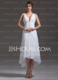 Wedding Dresses - $127.99 - A-Line/Princess V-neck Asymmetrical Chiffon  Charmeuse Wedding Dresses With Ruffle (002004593) http://jjshouse.com/A-Line-Princess-V-Neck-Asymmetrical-Chiffon-Charmeuse-Wedding-Dresses-With-Ruffle-002004593-g4593