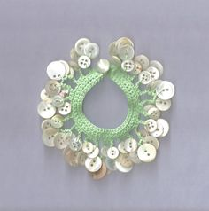 Crochet Mother of Pearl Button Charm Bracelet