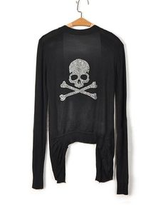 Black Knitted Cardigan with Diamante Embellished Skull and Dip Hem