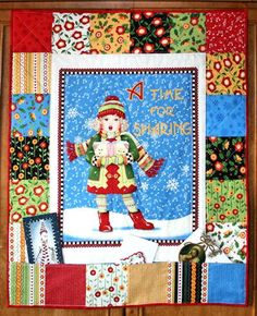 Christmas Caroler Card Holder - This pattern is one of our most charming Christmas quilting ideas! Cut a panel depicting a caroler from Christmas quilting fabric and set it within a piecework border to create the Christmas Caroler Card Holder..