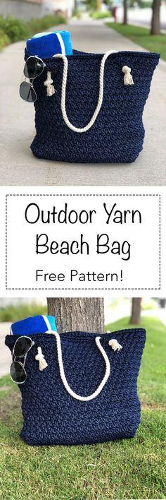 Beach bag made with Bernat Outdoor Yarn! - Beach bag made with Bernat Outdoor Yarn! Crochet Beach Bags, Crochet Tote, Crochet Handbags, Crochet Purses, Knit Crochet, Crochet Baskets, Diy Bags Patterns, Crochet Patterns, Purse Patterns