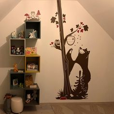 Cute forest animals wall decals with bear wall stickers - Cute and Original Kids Room or Nursery Decor by E-Glue Design Studio