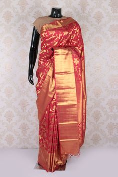 #Red & #gold pure #kanjeevaram silk woven fascinating #saree with red & gold border -SR11620