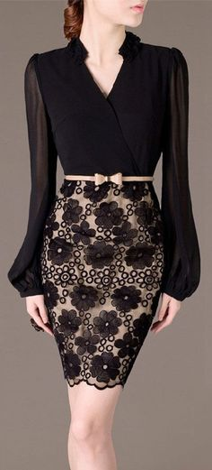 Cheap pencil dress, Buy Quality lace dress directly from China black lace dress Suppliers: 2016 New Long Sleeve Patchwork V-Neck Black Lace Dress Bodycon Bandage Pencil Dress Plus Size Vestidos Office Wear OL With Belt Elegant Dresses, Pretty Dresses, Vintage Dresses, Beautiful Dresses, Casual Dresses, Jw Mode, Look Fashion, Womens Fashion, Fashion Black